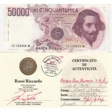 50000 lire Bernini I tipo  1 Dicembre 1986  certified spl / q.sup.